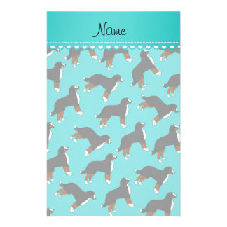 Personalized name turquoise Bernese Mountain dogs Stationery Design
