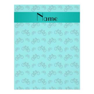 Personalized name turquoise bicycle pattern flyers