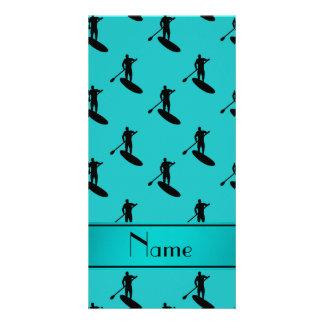 Personalized name turquoise black paddleboarding customised photo card