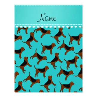 Personalized name turquoise bloodhound dogs 21.5 cm x 28 cm flyer