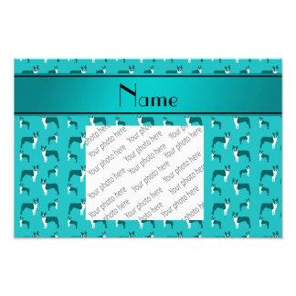 Personalized name turquoise boston terrier art photo