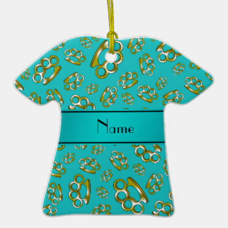 Personalized name turquoise brass knuckles christmas ornament