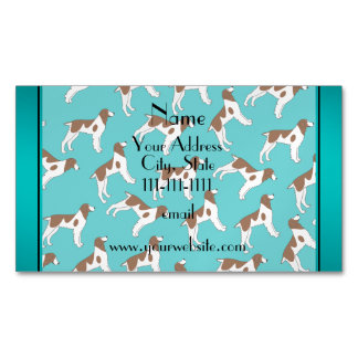 Personalized name turquoise brittany spaniel dogs magnetic business cards