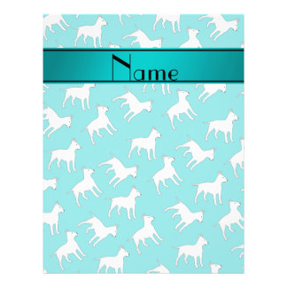 Personalized name turquoise bull terrier dogs 21.5 cm x 28 cm flyer