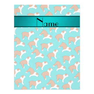 Personalized name turquoise Bulldog 21.5 Cm X 28 Cm Flyer