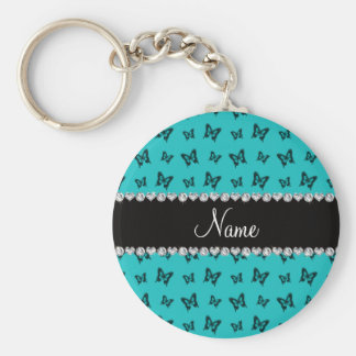 Personalized name turquoise butterfly pattern key ring