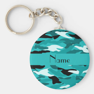 Personalized name turquoise camouflage basic round button key ring