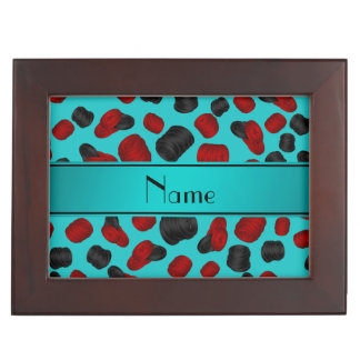 Personalized name turquoise checkers game memory boxes