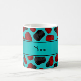 Personalized name turquoise checkers game coffee mug