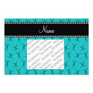 Personalized name turquoise cheerleader pattern photo