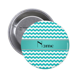 Personalized name turquoise chevrons 6 cm round badge