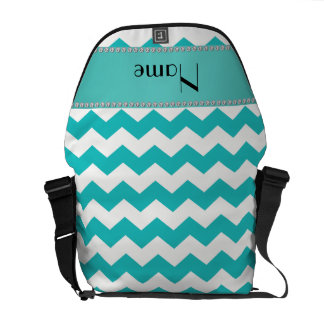 Personalized name turquoise chevrons courier bag
