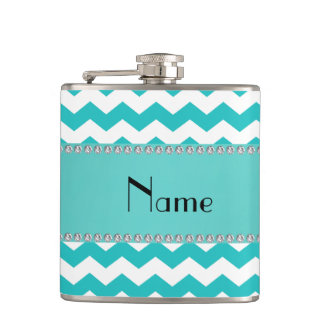Personalized name turquoise chevrons hip flask