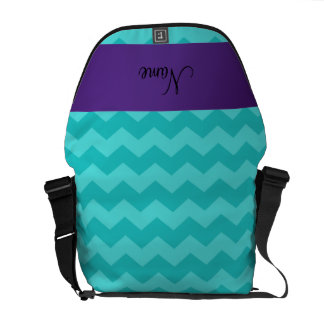 Personalized name turquoise chevrons purple stripe messenger bag