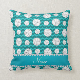 Personalized name turquoise chevrons volleyballs cushion