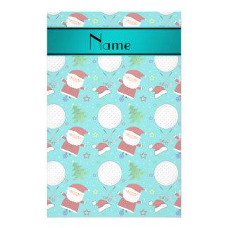 Personalized name turquoise christmas golfing customized stationery