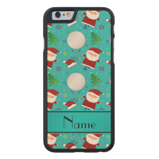 Personalized name turquoise christmas golfing carved® maple iPhone 6 slim case
