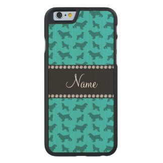 Personalized name turquoise cocker spaniels carved® maple iPhone 6 case