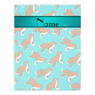 Personalized name turquoise collie dog pattern 21.5 cm x 28 cm flyer