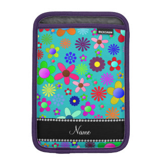 Personalized name turquoise colorful retro flowers sleeve for iPad mini