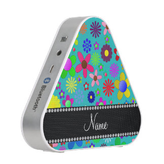 Personalized name turquoise colorful retro flowers speaker