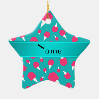Personalized name turquoise cotton candy ceramic star decoration