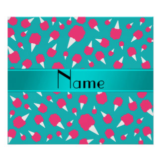 Personalized name turquoise cotton candy print