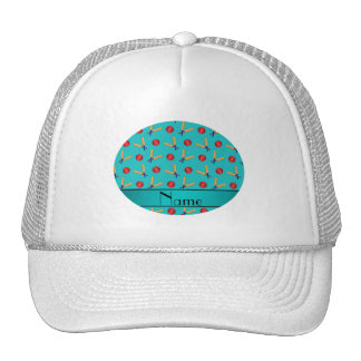 Personalized name turquoise cricket pattern cap