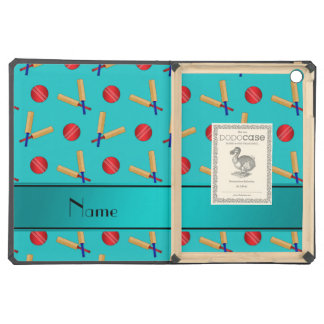 Personalized name turquoise cricket pattern cover for iPad air