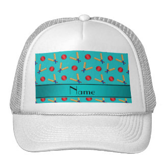 Personalized name turquoise cricket pattern hat