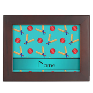 Personalized name turquoise cricket pattern keepsake box