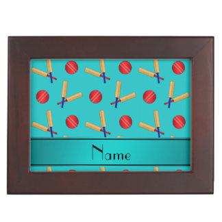 Personalized name turquoise cricket pattern keepsake boxes