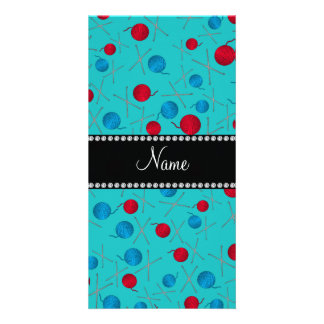 Personalized name turquoise crochet pattern customised photo card