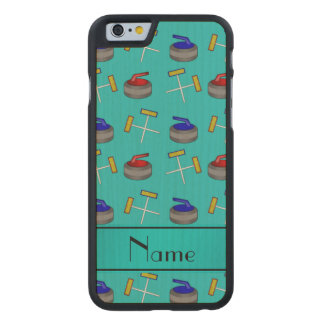 Personalized name turquoise curling pattern carved® maple iPhone 6 slim case