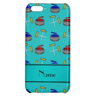 Personalized name turquoise curling pattern cover for iPhone 5C