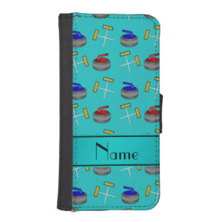 Personalized name turquoise curling pattern iPhone 5 wallet case