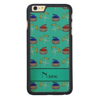 Personalized name turquoise curling pattern iPhone 6 plus case