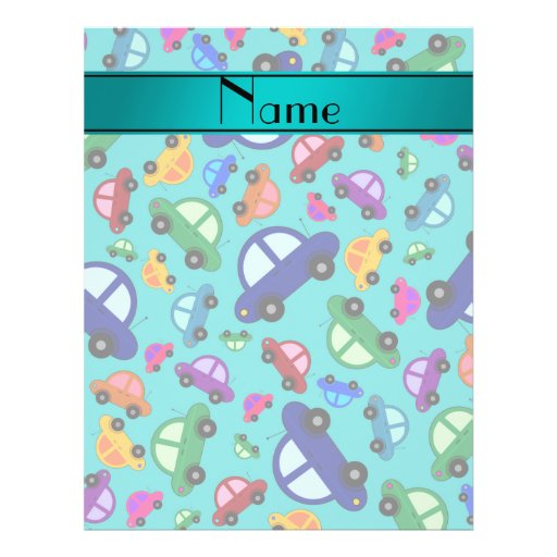 Personalized name turquoise cute car pattern custom flyer