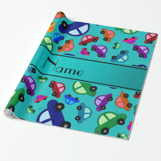 Personalized name turquoise cute car pattern wrapping paper