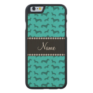 Personalized name turquoise dachshunds carved maple iPhone 6 case