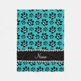 Personalized name turquoise dachshunds dog paws fleece blanket