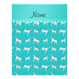 Personalized name turquoise dalmatian dogs 21.5 cm x 28 cm flyer