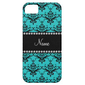 Personalized name turquoise damask iPhone 5 covers
