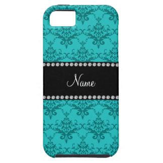 Personalized name Turquoise damask iPhone 5 Case