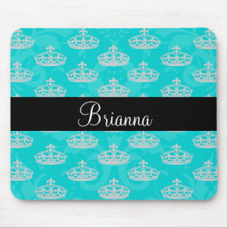 Personalized Name Turquoise Damask Diamond Crown Mouse Pad