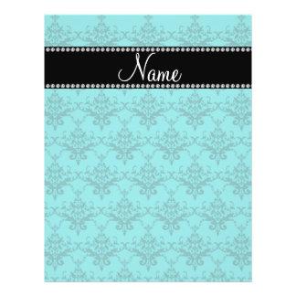 Personalized name Turquoise damask Flyer Design