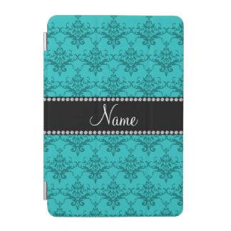 Personalized name Turquoise damask iPad Mini Cover