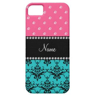 Personalized name turquoise damask pink diamonds iPhone 5 case