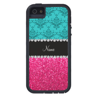 Personalized name turquoise damask pink glitter iPhone 5 cases