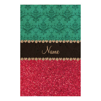 Personalized name turquoise damask pink glitter cork fabric